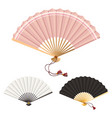 colored fans isolated on white vector image vector image