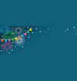 colorful fireworks on blue background vector image