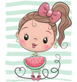 cute cartoon girl with watermelon vector image vector image
