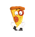 cute slice of pizza funny cartoon fast food vector image vector image