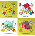 farm concept 4 isometric icons square vector image