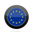 flag of european union shiny black round button vector image vector image