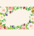 floral frame flowers leaves white background vector image vector image