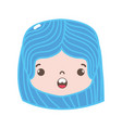 full color girl head with hairstyle and surprised vector image vector image