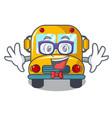 geek school bus character cartoon vector image