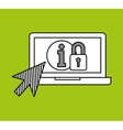 hand draw laptop security social network media vector image