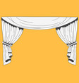 hand drawn stage curtains on yellow background vector image vector image