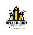 happy halloween banner with haunted house vector image