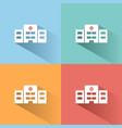 hospital icon with shadow on colored backgrounds vector image