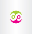 infinity symbol logo sign green magenta vector image vector image