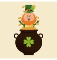 leprechaun happy tossing gold pot vector image