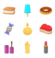 lot of sweet icons set cartoon style vector image vector image