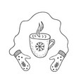 mittens and cup of hot tea or coffee minimalist vector image
