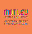 motley letters and numbers with currency signs vector image vector image