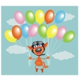 parachuting cat vector image vector image