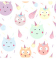 pattern with cute unicorns and ice creams vector image
