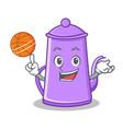 playing basketball purple teapot character cartoon vector image