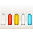 realistic plastic medical paint bottle set vector image