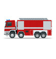 red fire truck vehicle of emergency firefighters vector image