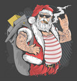 santa claus merry christmas tattoo and cigarette vector image