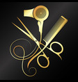 scissors comb and hair dryer golden symbol vector image vector image