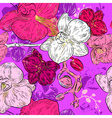 Seamless Floral Pattern with Orchids vector image vector image