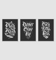 set 3 lettering poster with quote for t-shirt vector image