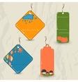Set of 4 retro autumn tags vector image