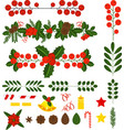 set of holly berry pine branch and cones vector image
