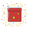 shining gift box icon with stars in flat style vector image