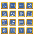 soccer football icons set blue square vector image vector image