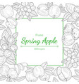 spring apple frame 100 percent organic hand vector image vector image