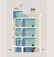 stylish downtown residential three story building vector image vector image