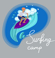 surfer in t-shirt and shorts swims on the wave vector image vector image
