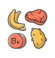 vitamin b6 color icon meat banana and potato vector image vector image