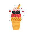 waffle cone with different balls ice cream with vector image