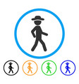 walking gentleman rounded icon vector image