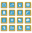 wild west icons set sapphirine square vector image
