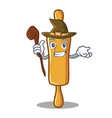 witch rolling pin character cartoon vector image vector image