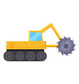 yellow excavator machine for coal mining industry vector image