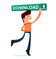 young man press the download button vector image vector image