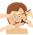 young woman getting beauty services many hands vector image