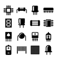 Electronic Components and Microchip Icons Set vector image