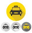taxi car flat icons set vector image