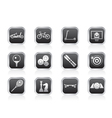 sports equipment and objects icons vector image