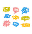 set of speech bubbles in comic style with rough vector image