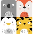 Animal muzzles koala fox penguin cheetah vector image