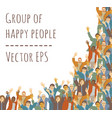 big group happy people frame isolate on white vector image vector image