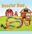 boardgame template with chickens in farm vector image vector image