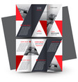 brochure design template tri-fold red triangles vector image vector image